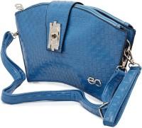 E2O Women Casual Blue Genuine Leather Sling Bag