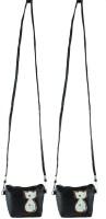 Heels & Handles Women Casual Black Leatherette Sling Bag