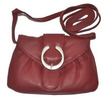 DHide Designs Women Maroon Genuine Leather Sling Bag