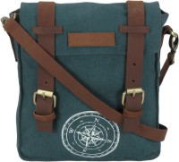 The House Of Tara Men, Women Blue Canvas, Genuine Leather Messenger Bag