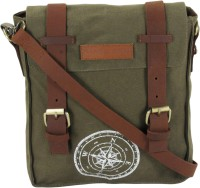 The House Of Tara Men, Women Green Canvas, Genuine Leather Messenger Bag