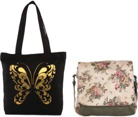 Vogue Tree Women Casual Black Canvas Sling Bag