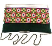 Bhamini Pleated Raw Medium Sling Bag - Green-01