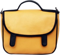 La Volsa Women Casual Yellow Genuine Leather Sling Bag