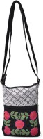 Pick Pocket White Emb Small Medium Sling Bag - Black
