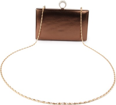 Kleio Girls, Women Festive, Formal, Evening/Party Gold, Brown Leatherette Sling Bag