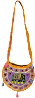 Shushila's Women Casual Yellow Cotton Sling Bag