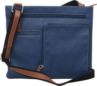 Hunt Women Casual Blue Genuine Leather Sling Bag