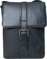 Elan Men, Women Casual Black Genuine Leather Sling Bag