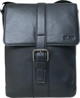Elan Men, Women Casual Black Genuine Leather Sling Bag