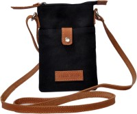 URBANBRATS Girls, Women Black Genuine Leather, Canvas Sling Bag