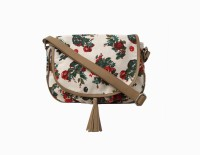 Carry On Bags Girls Beige Canvas, PU Sling Bag