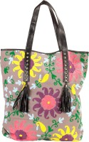 Famous By Payal Kapoor Women Casual Grey Canvas Hand-held Bag