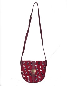 Clocharde Girls Casual Red Cotton Sling Bag