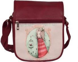 BagsHub Girls Maroon PU Sling Bag