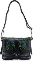 Phive Rivers Genuine Leather - DZUKOU_PR840 Large Sling Bag - Black
