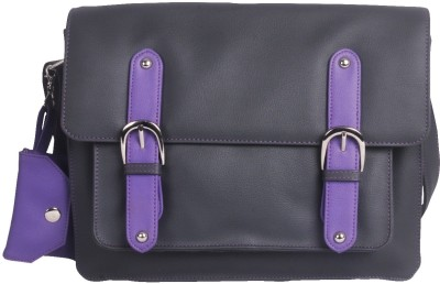 Toteteca Bag Works Flap Crossbody Sling Sling Bag - Grey With Purple Trims