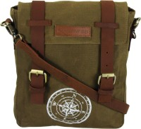 The House Of Tara Men, Women Khaki Canvas, Genuine Leather Messenger Bag