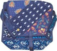 Rural Touch Girls, Women Casual, Festive Blue Jute, Fabric Sling Bag