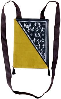 Villcart Warli Cotton Bag - Black And Ocher Sling Bag - Black-011