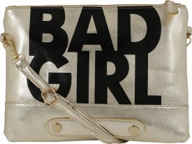 Bling It On Girls, Women Casual, Evening/Party, Festive Gold PU Sling Bag