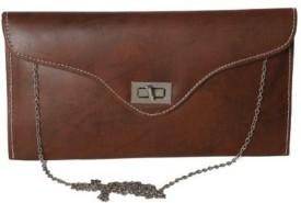 Kuero Women Brown Leatherette Clutch