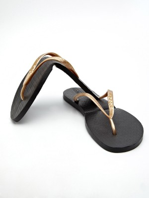 Salvatos Stylish Black Folding Flip Flops