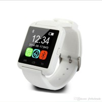 "Wonder World â""¢ U8 Pebbleâ""¢ Bluetooth Mobile Cell Phone White Smartwatch (White Strap)"