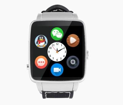 Bingo X-6 Silver Bluetooth Phone Smartwatch (Black Strap)