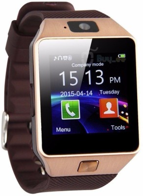 VibeX ® DZ-09 Mobile With GSM SIM Card & Camera Bluetooth Gold Smartwatch (Gold Strap Free Size)