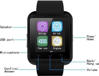 Top Goods U8 Black Smartwatch (Black Strap)