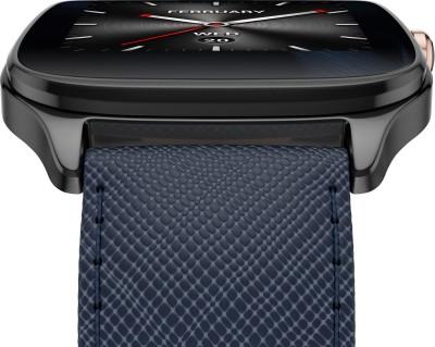 Asus ZenWatch 2 Gunmetal Case with Leather Strap Dark Blue Smartwatch (1.63 inch, Navy Blue)