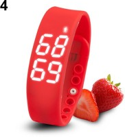 ZVR FLIPFIT Fitness BanD 3D PeDometer Sleep Temperature Calorie Monitor Time Display Silicon Without SpeeDometer Smartwatch (Red Strap Free Size)