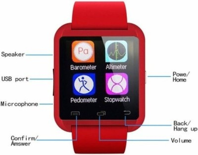 MM U8 for Android phone Bluetooth Red Smartwatch (Red Strap Free Size)