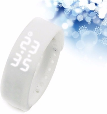 Bs Spy Fitness BanD 3D PeDometer Sleep Temperature Calorie Monitor Time Display Silicon Without SpeeDometer White Smartwatch (White Strap Free Size)