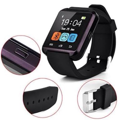 VibeX ™ Smartgadget™ Bluetooth U8 HealthCheck™ Black Smartwatch (Black Strap Free Size)