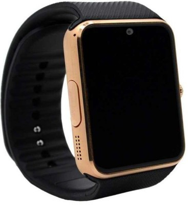 Influx ® SIM-TF Card Support Camera Gold Smartwatch (Black Strap Free)