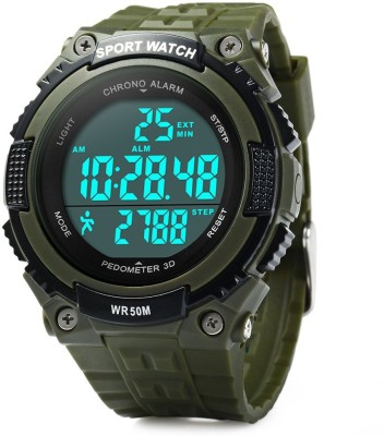 Bs Spy PeDometer  Waterproof Sports Multifunction LeD Digital 3D PeDometer Military With Alarm Without SpeeDometer Green Smartwatch (Green Strap Free Size)