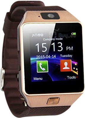 Frenzy With Sim, Memorycard slot, Bluetooth and Fitness tracker Copper Smartwatch (Brown Strap)