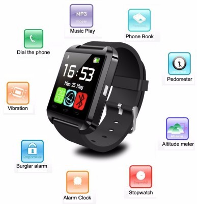 AJA Retail Bluetooth U8 Smart Watch For IPhone 4/5S/6 Samsung S4/Note 3 HTC Android /Ios Smart Phones Black Smartwatch (Black Strap Free Size)