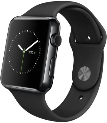 Apple Watch 38 mm Space Black Stainless Steel Case with Sport Band Black Smartwatch (Black Strap)