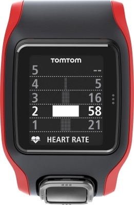 TomTom 1RA0.001.00 Runner Cardio GPS Watch Smartwatch (Black, Red Strap)