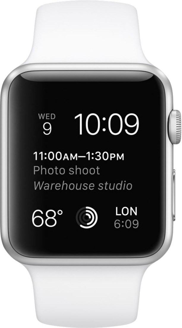 Apple Watch Sport Silver Aluminium case white sport Band 42mm