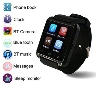 PhonoHolic U8 Black Smartwatch (Black Strap)