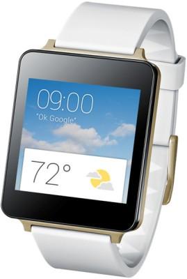 LG W100 Smartwatch (White, Gold Strap)