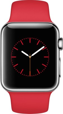 Apple Watch 38 mm Stainless Steel Case with Sport Band Red Smartwatch (Red Strap)