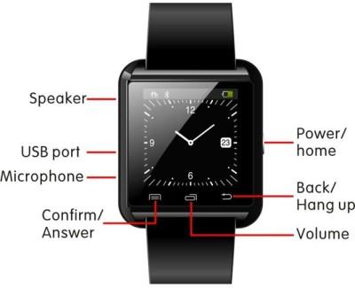 Ocean I U8-1 Black Smartwatch (Black Strap)