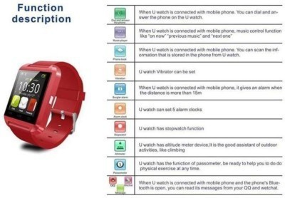CUVVA U8 SMARTWATCH Smartwatch (Red Strap)