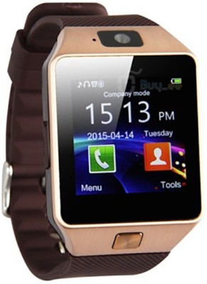 HealthMax with SIM card, 32GB memory card slot, Bluetooth and Fitness Tracker Smartwatch 02-GD Golden Smartwatch (Brown Strap)
