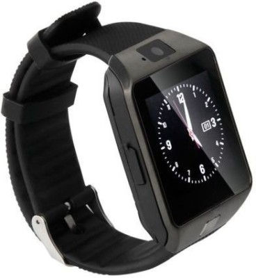 Generic DZ09 SIM Card Supported Smartwatch (Black Strap)